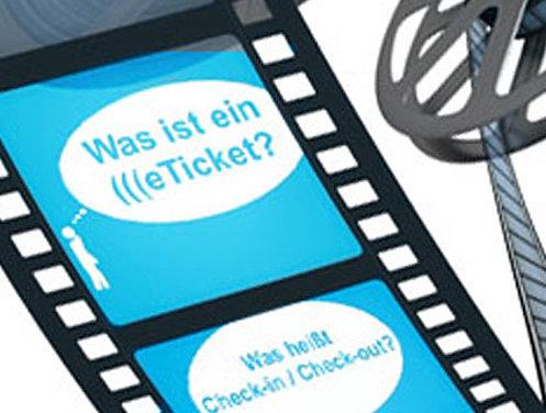 """Ansicht einer Spule mit Film, auf dem geschrieben steht """"Was ist ein (((eTicket?"""""""